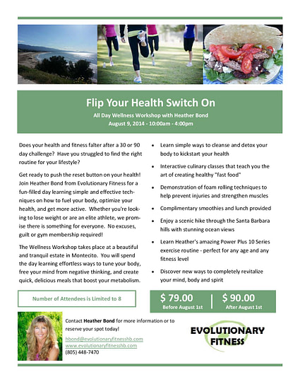 Flyer for Evolutionary Fitness, a client of SB Creative Content
