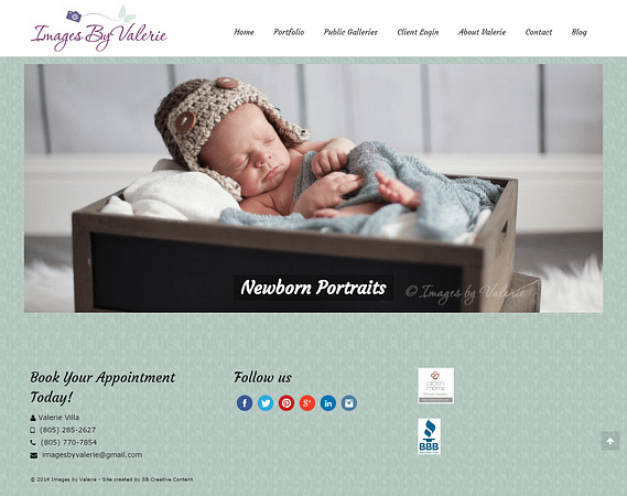 Homepage of Images by Valerie webpage, a client of SB Creative Content