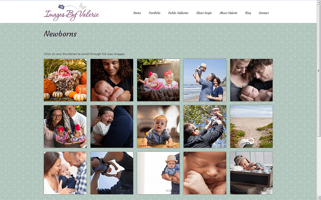 Sample page from Images by Valerie website, a client of SB Creative Content
